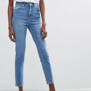ASOS High Waited Slim Mom Jeans Medium/Light Blue